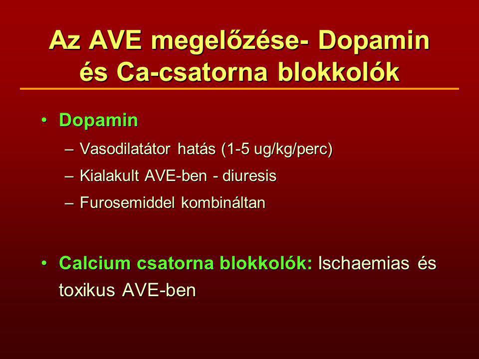 Az AVE megelőzése- Dopamin és Ca-csatorna blokkolók DopaminDopamin –Vasodilatátor hatás (1-5 ug/kg/perc) –Kialakult AVE-ben - diuresis –Furosemiddel kombináltan Calcium csatorna blokkolók: Ischaemias és toxikus AVE-benCalcium csatorna blokkolók: Ischaemias és toxikus AVE-ben