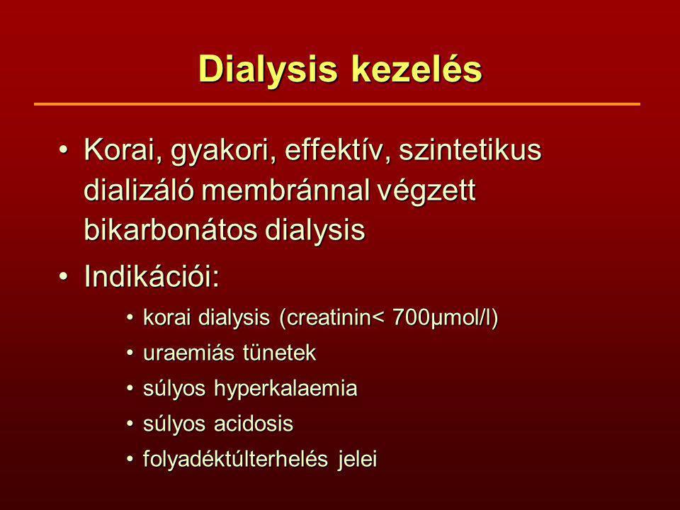 Dialysis kezelés Korai, gyakori, effektív, szintetikus dializáló membránnal végzett bikarbonátos dialysisKorai, gyakori, effektív, szintetikus dializáló membránnal végzett bikarbonátos dialysis Indikációi:Indikációi: korai dialysis (creatinin< 700µmol/l)korai dialysis (creatinin< 700µmol/l) uraemiás tünetekuraemiás tünetek súlyos hyperkalaemiasúlyos hyperkalaemia súlyos acidosissúlyos acidosis folyadéktúlterhelés jeleifolyadéktúlterhelés jelei