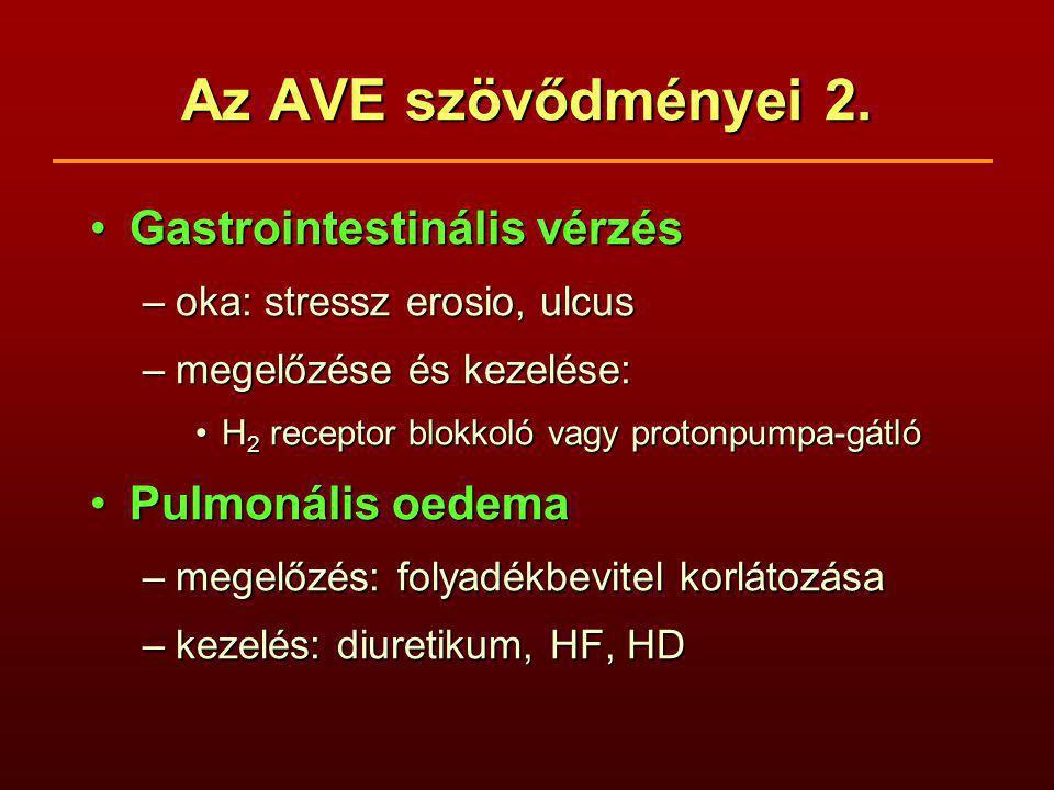 Az AVE szövődményei 2. Gastrointestinális vérzésGastrointestinális vérzés –oka: stressz erosio, ulcus –megelőzése és kezelése: H 2 receptor blokkoló v
