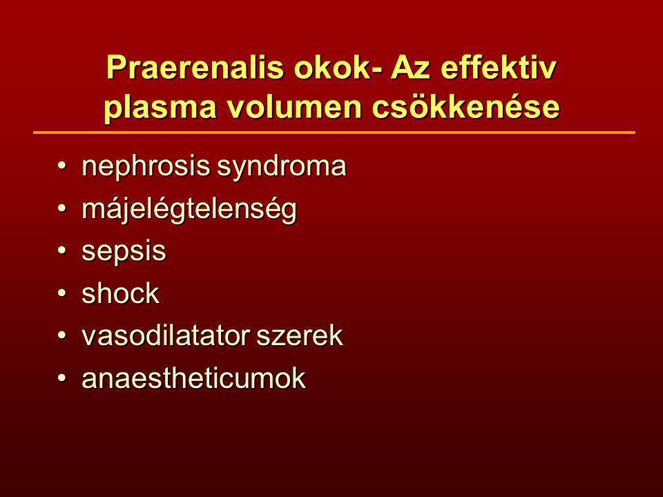 Praerenalis okok- Az effektiv plasma volumen csökkenése nephrosis syndromanephrosis syndroma májelégtelenségmájelégtelenség sepsissepsis shockshock vasodilatator szerekvasodilatator szerek anaestheticumokanaestheticumok