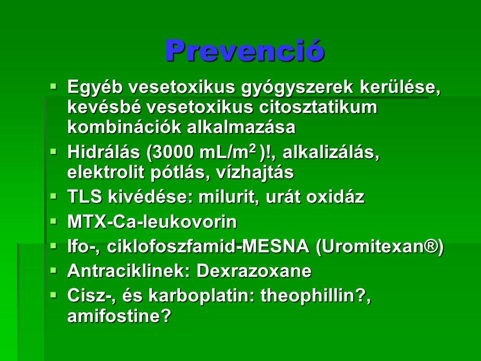 Prevenció  Egyéb vesetoxikus gyógyszerek kerülése, kevésbé vesetoxikus citosztatikum kombinációk alkalmazása  Hidrálás (3000 mL/m 2 )!, alkalizálás,