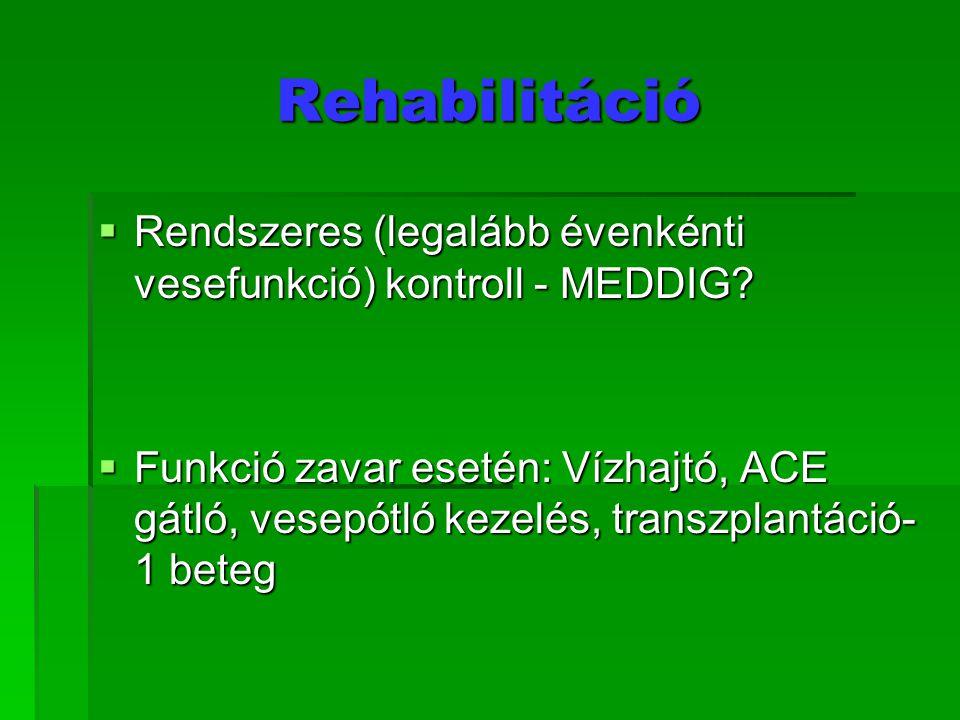 Rehabilitáció  Rendszeres (legalább évenkénti vesefunkció) kontroll - MEDDIG?  Funkció zavar esetén: Vízhajtó, ACE gátló, vesepótló kezelés, transzp