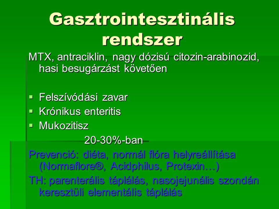 Gasztrointesztinális rendszer MTX, antraciklin, nagy dózisú citozin-arabinozid, hasi besugárzást követően  Felszívódási zavar  Krónikus enteritis 