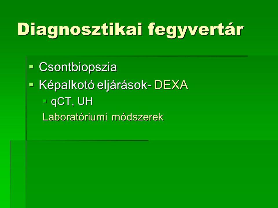 Diagnosztikai fegyvertár  Csontbiopszia  Képalkotó eljárások- DEXA  qCT, UH Laboratóriumi módszerek