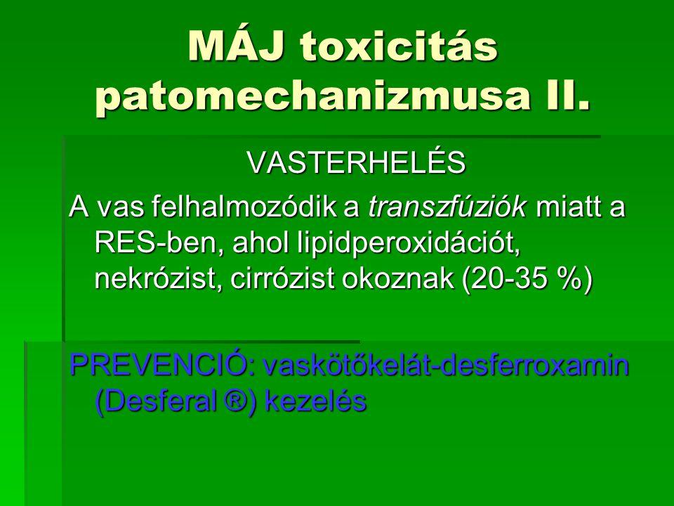 MÁJ toxicitás patomechanizmusa II. VASTERHELÉS A vas felhalmozódik a transzfúziók miatt a RES-ben, ahol lipidperoxidációt, nekrózist, cirrózist okozna