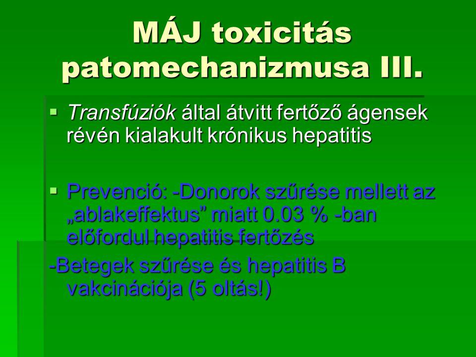 MÁJ toxicitás patomechanizmusa III.  Transfúziók által átvitt fertőző ágensek révén kialakult krónikus hepatitis  Prevenció: -Donorok szűrése mellet
