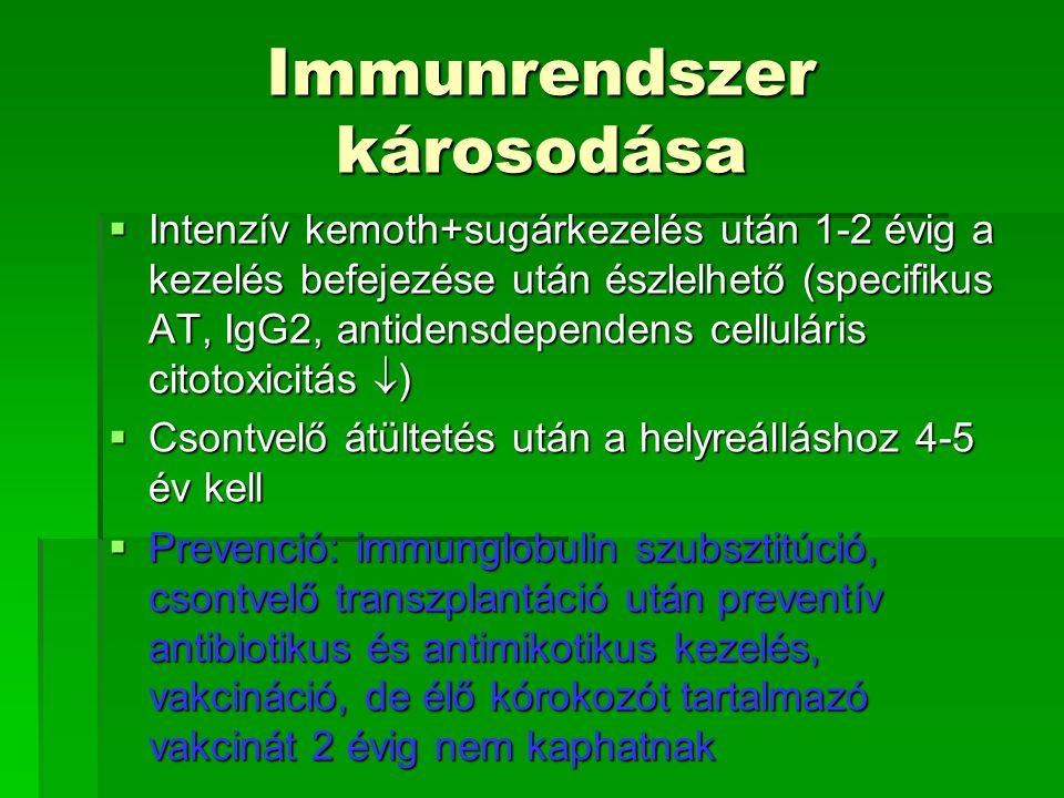 Immunrendszer károsodása  Intenzív kemoth+sugárkezelés után 1-2 évig a kezelés befejezése után észlelhető (specifikus AT, IgG2, antidensdependens cel