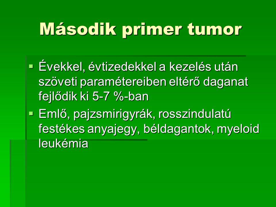 Második primer tumor  Évekkel, évtizedekkel a kezelés után szöveti paramétereiben eltérő daganat fejlődik ki 5-7 %-ban  Emlő, pajzsmirigyrák, rosszi