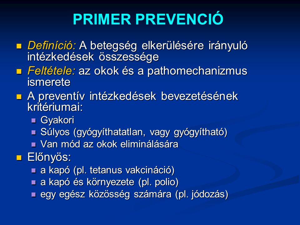 PRIMER PREVENCIÓ Definíció: A betegség elkerülésére irányuló intézkedések összessége Definíció: A betegség elkerülésére irányuló intézkedések összessé
