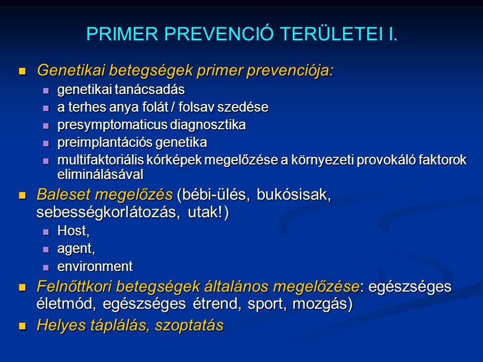 PRIMER PREVENCIÓ TERÜLETEI I. Genetikai betegségek primer prevenciója: Genetikai betegségek primer prevenciója: genetikai tanácsadás genetikai tanácsa