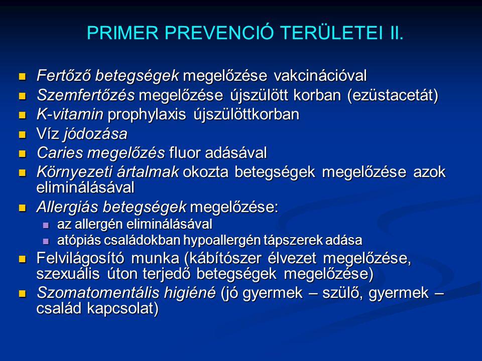 PRIMER PREVENCIÓ TERÜLETEI II. Fertőző betegségek megelőzése vakcinációval Fertőző betegségek megelőzése vakcinációval Szemfertőzés megelőzése újszülö