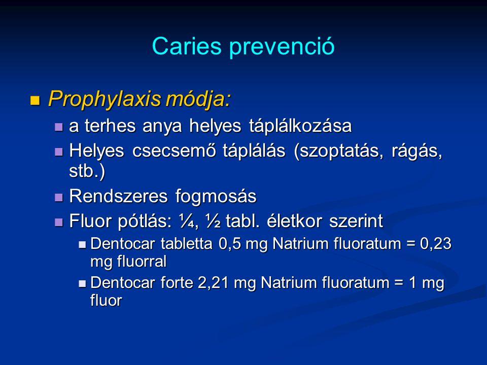 Caries prevenció Prophylaxis módja: Prophylaxis módja: a terhes anya helyes táplálkozása a terhes anya helyes táplálkozása Helyes csecsemő táplálás (s