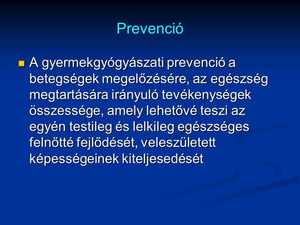 Prevenció A gyermekgyógyászati prevenció a betegségek megelőzésére, az egészség megtartására irányuló tevékenységek összessége, amely lehetővé teszi a