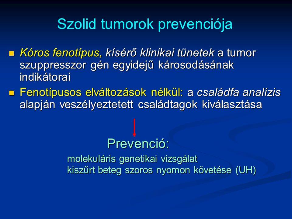 Szolid tumorok prevenciója Kóros fenotípus, kísérő klinikai tünetek a tumor szuppresszor gén egyidejű károsodásának indikátorai Kóros fenotípus, kísér
