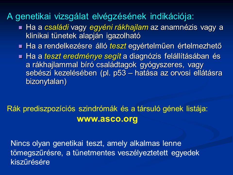 A genetikai vizsgálat elvégzésének indikációja: Ha a családi vagy egyéni rákhajlam az anamnézis vagy a klinikai tünetek alapján igazolható Ha a család