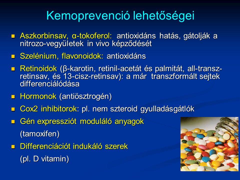 Kemoprevenció lehetőségei Aszkorbinsav, α-tokoferol: antioxidáns hatás, gátolják a nitrozo-vegyületek in vivo képződését Aszkorbinsav, α-tokoferol: an