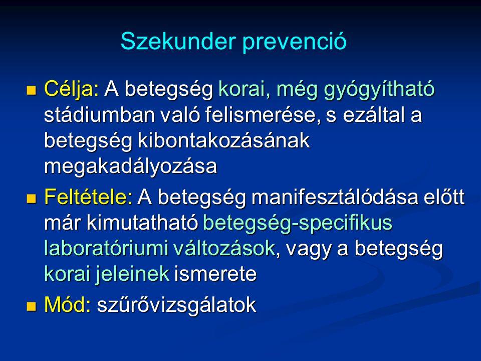 Szekunder prevenció Célja: A betegség korai, még gyógyítható stádiumban való felismerése, s ezáltal a betegség kibontakozásának megakadályozása Célja: