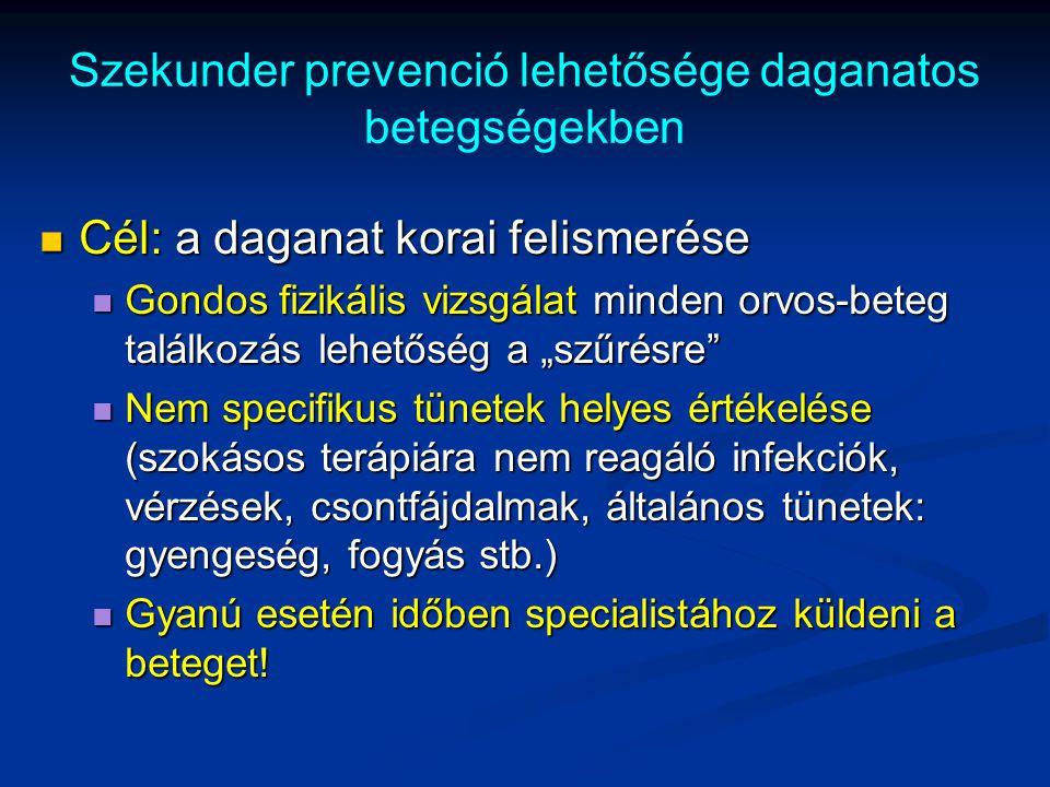 Szekunder prevenció lehetősége daganatos betegségekben Cél: a daganat korai felismerése Cél: a daganat korai felismerése Gondos fizikális vizsgálat mi