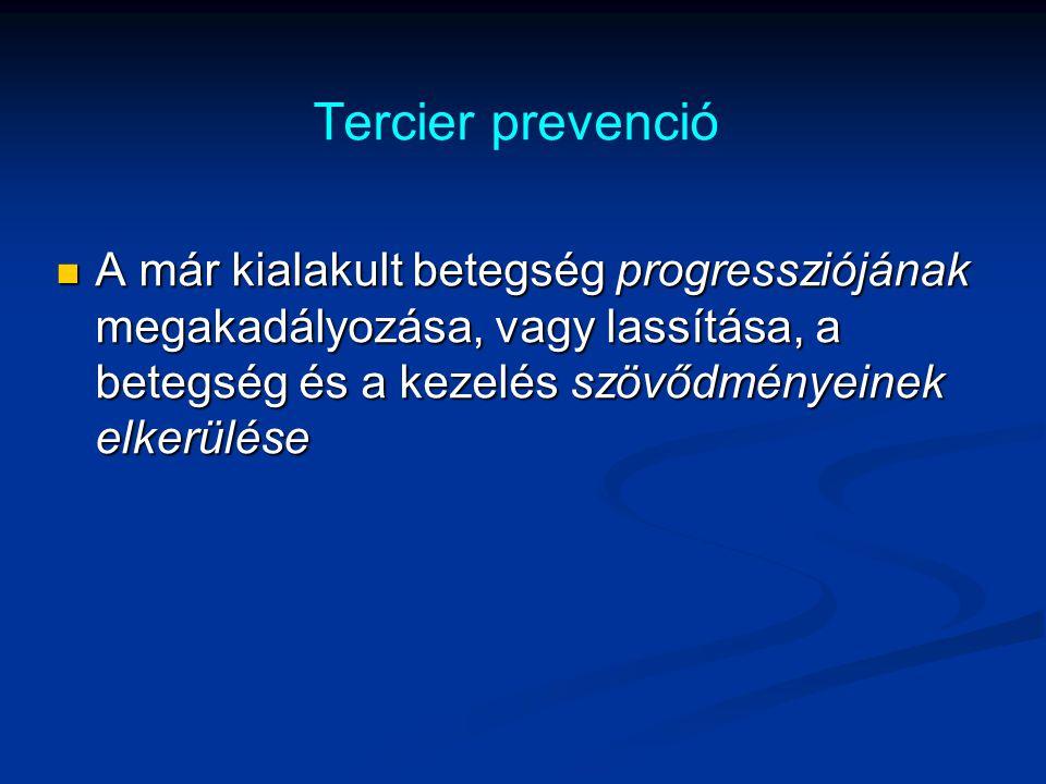 Tercier prevenció A már kialakult betegség progressziójának megakadályozása, vagy lassítása, a betegség és a kezelés szövődményeinek elkerülése A már