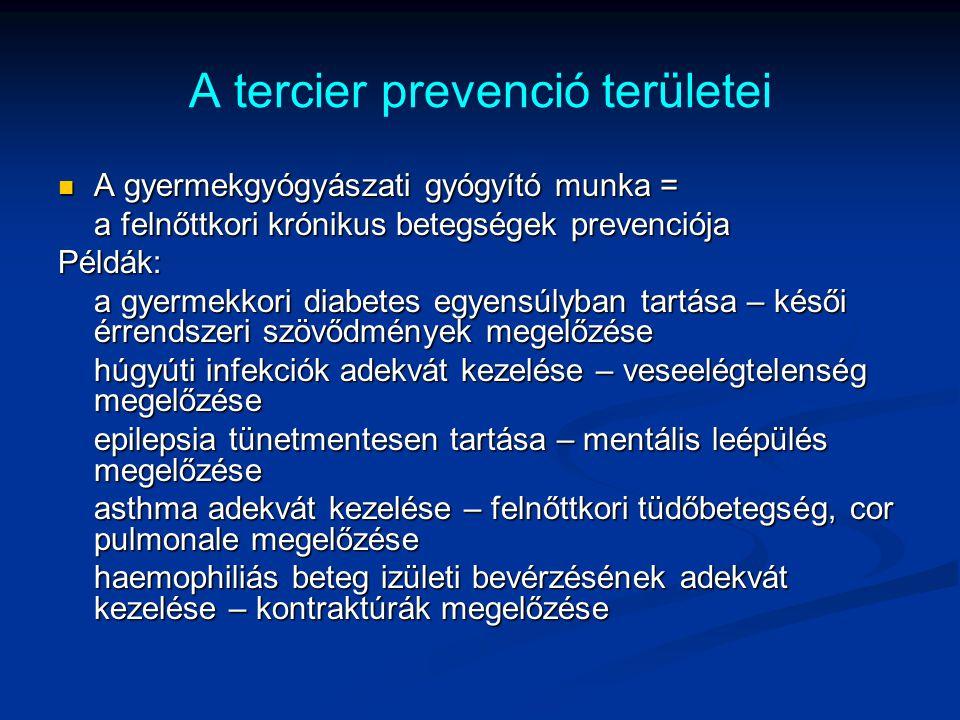A tercier prevenció területei A gyermekgyógyászati gyógyító munka = A gyermekgyógyászati gyógyító munka = a felnőttkori krónikus betegségek prevenciój