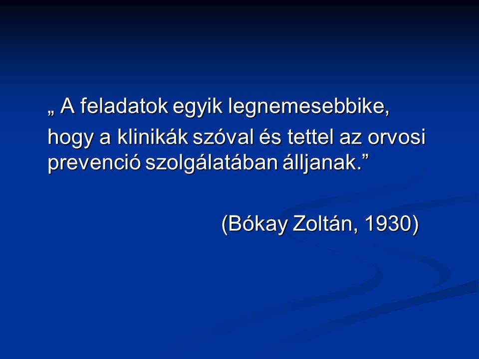 """"""" A feladatok egyik legnemesebbike, hogy a klinikák szóval és tettel az orvosi prevenció szolgálatában álljanak."""" (Bókay Zoltán, 1930)"""
