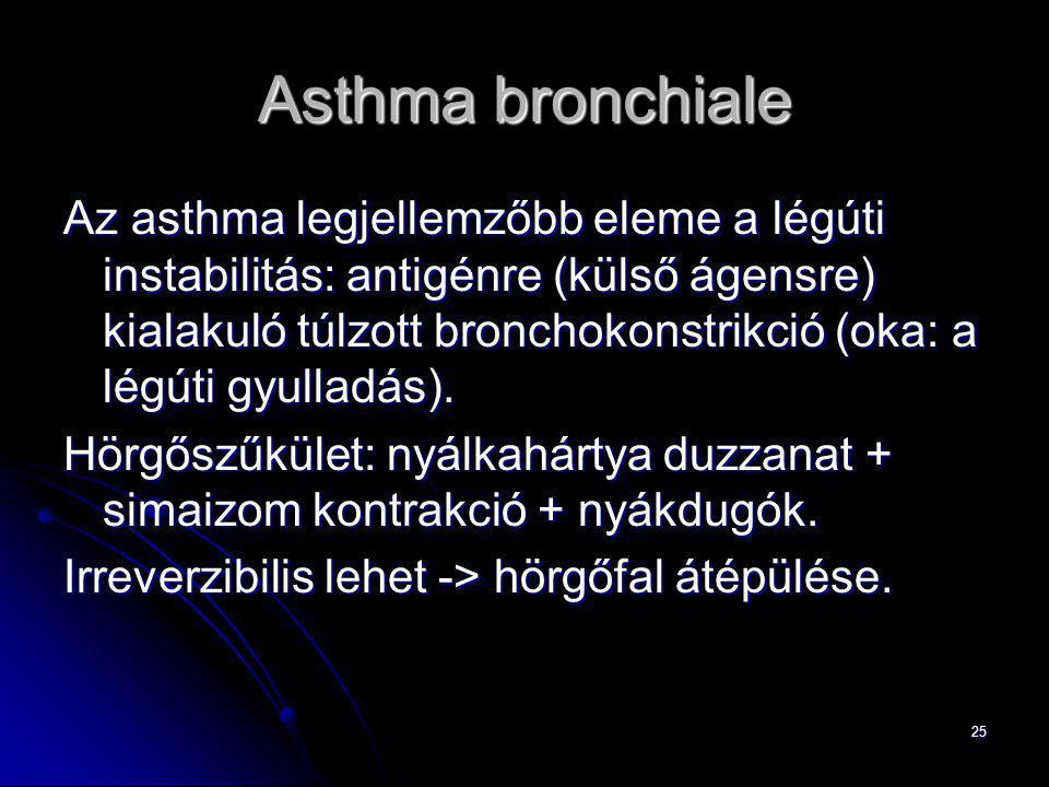 25 Asthma bronchiale Az asthma legjellemzőbb eleme a légúti instabilitás: antigénre (külső ágensre) kialakuló túlzott bronchokonstrikció (oka: a légút