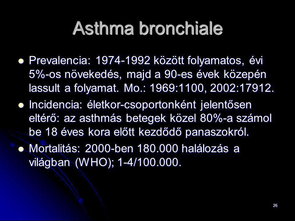 26 Asthma bronchiale Prevalencia: 1974-1992 között folyamatos, évi 5%-os növekedés, majd a 90-es évek közepén lassult a folyamat. Mo.: 1969:1100, 2002