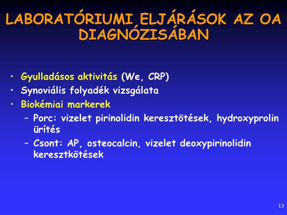 13 LABORATÓRIUMI ELJÁRÁSOK AZ OA DIAGNÓZISÁBAN Gyulladásos aktivitás (We, CRP) Synoviális folyadék vizsgálata Biokémiai markerek –Porc: vizelet pirinolidin keresztötések, hydroxyprolin ürítés –Csont: AP, osteocalcin, vizelet deoxypirinolidin keresztkötések