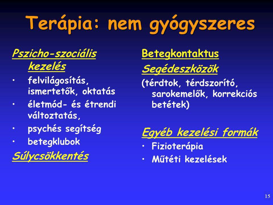 15 Terápia: nem gyógyszeres Pszicho-szociális kezelés felvilágosítás, ismertetők, oktatás életmód- és étrendi változtatás, psychés segítség betegklubok Súlycsökkentés Betegkontaktus Segédeszközök (térdtok, térdszorító, sarokemelők, korrekciós betétek) Egyéb kezelési formák Fizioterápia Műtéti kezelések