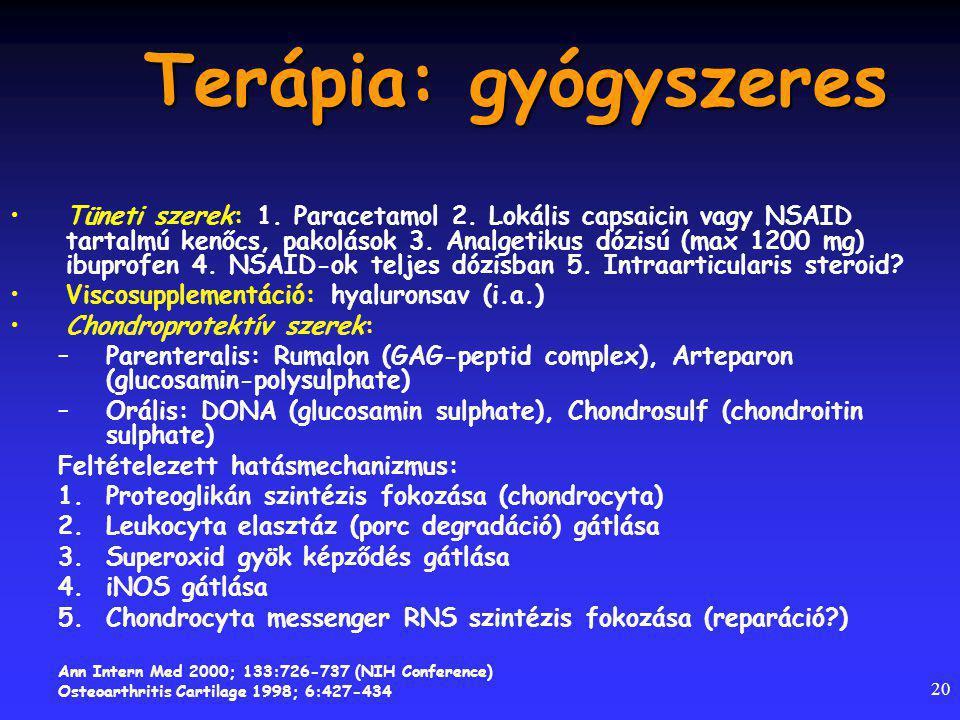 20 Terápia: gyógyszeres Tüneti szerek: 1.Paracetamol 2.