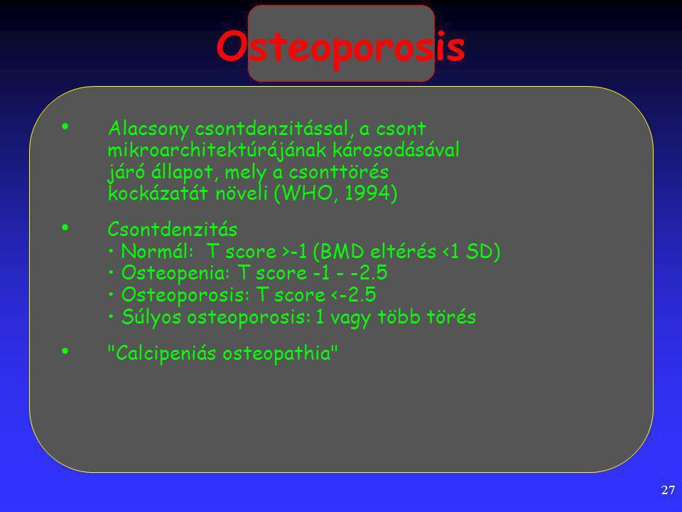 27 Osteoporosis Alacsony csontdenzitással, a csont mikroarchitektúrájának károsodásával járó állapot, mely a csonttörés kockázatát növeli (WHO, 1994) Csontdenzitás Normál: T score >-1 (BMD eltérés <1 SD) Osteopenia: T score -1 - -2.5 Osteoporosis: T score <-2.5 Súlyos osteoporosis: 1 vagy több törés Calcipeniás osteopathia