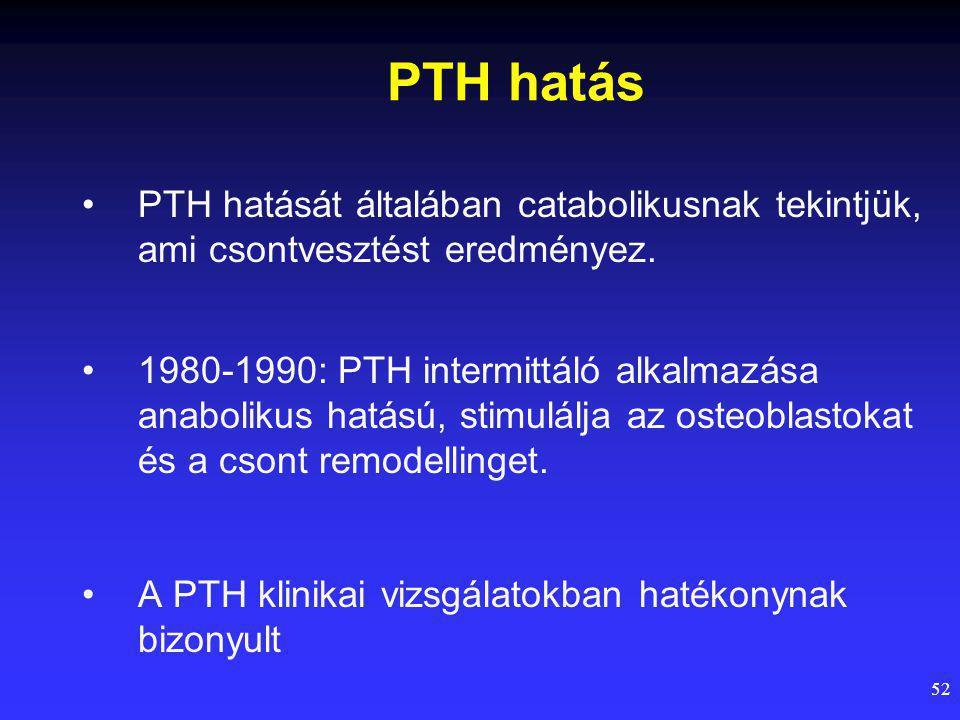 52 PTH hatás PTH hatását általában catabolikusnak tekintjük, ami csontvesztést eredményez.