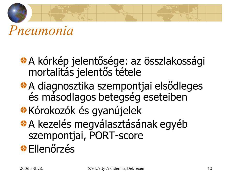 2006. 08.28.XVI.Ady Akadémia, Debrecen12 Pneumonia A kórkép jelentősége: az összlakossági mortalitás jelentős tétele A diagnosztika szempontjai elsődl