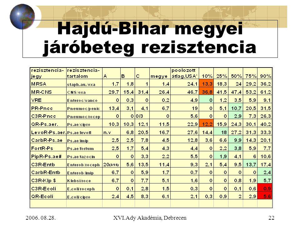 2006. 08.28.XVI.Ady Akadémia, Debrecen22 Hajdú-Bihar megyei járóbeteg rezisztencia