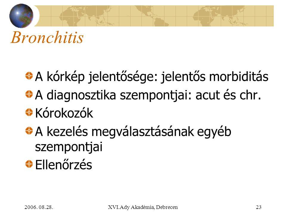 2006. 08.28.XVI.Ady Akadémia, Debrecen23 Bronchitis A kórkép jelentősége: jelentős morbiditás A diagnosztika szempontjai: acut és chr. Kórokozók A kez