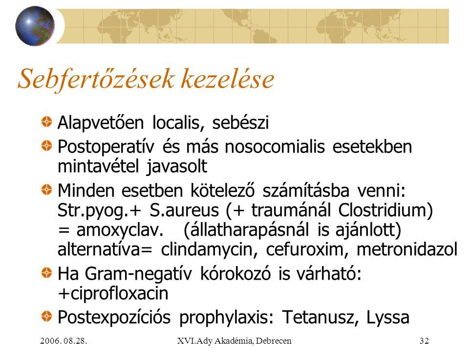 2006. 08.28.XVI.Ady Akadémia, Debrecen32 Sebfertőzések kezelése Alapvetően localis, sebészi Postoperatív és más nosocomialis esetekben mintavétel java