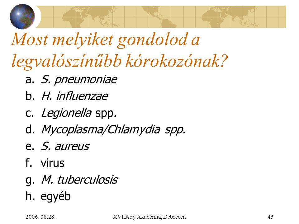 2006. 08.28.XVI.Ady Akadémia, Debrecen45 Most melyiket gondolod a legvalószínűbb kórokozónak? a. S. pneumoniae b. H. influenzae c. Legionella spp. d.