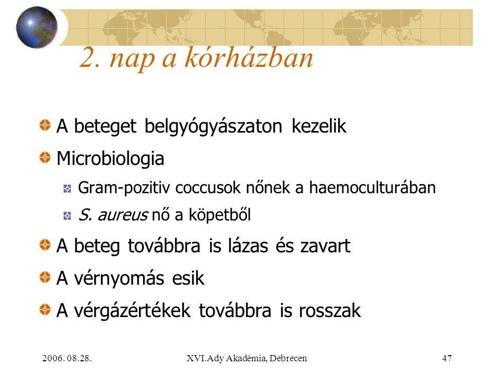 2006. 08.28.XVI.Ady Akadémia, Debrecen47 2. nap a kórházban A beteget belgyógyászaton kezelik Microbiologia Gram-pozitiv coccusok nőnek a haemoculturá