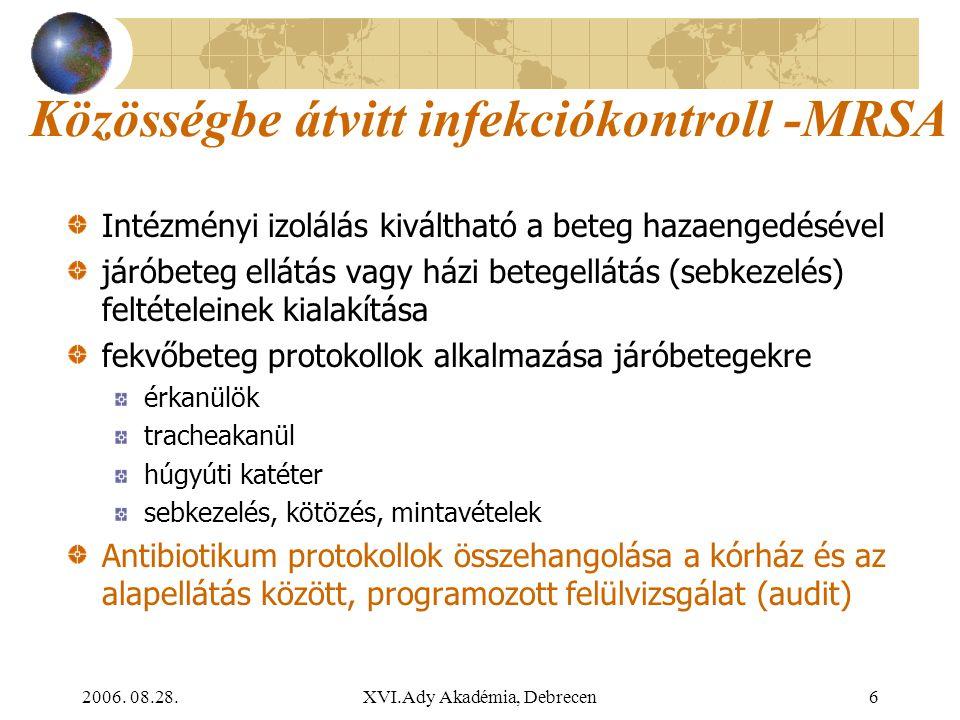 2006. 08.28.XVI.Ady Akadémia, Debrecen6 Közösségbe átvitt infekciókontroll -MRSA Intézményi izolálás kiváltható a beteg hazaengedésével járóbeteg ellá