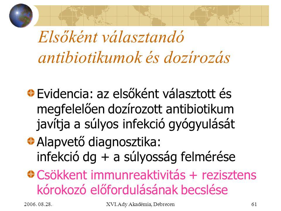 2006. 08.28.XVI.Ady Akadémia, Debrecen61 Elsőként választandó antibiotikumok és dozírozás Evidencia: az elsőként választott és megfelelően dozírozott
