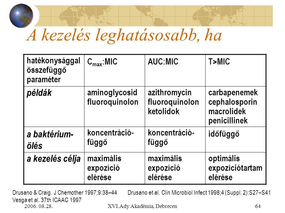 2006. 08.28.XVI.Ady Akadémia, Debrecen64 A kezelés leghatásosabb, ha hatékonysággal összefüggő paraméter C max :MICAUC:MICT>MIC példák aminoglycosid f