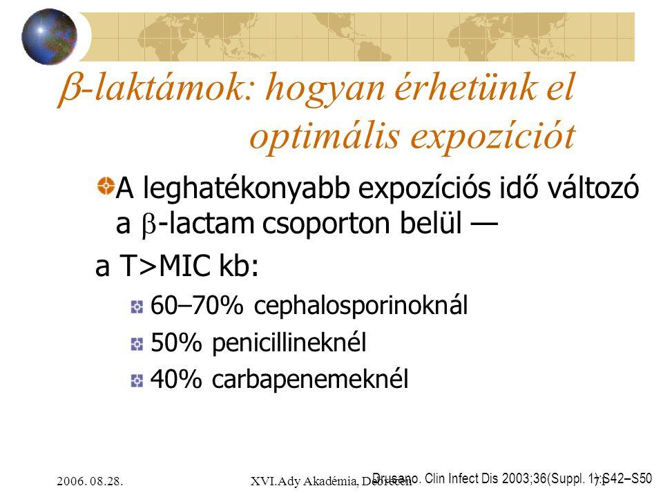 2006. 08.28.XVI.Ady Akadémia, Debrecen71 Drusano. Clin Infect Dis 2003;36(Suppl. 1):S42–S50  -laktámok: hogyan érhetünk el optimális expozíciót A leg