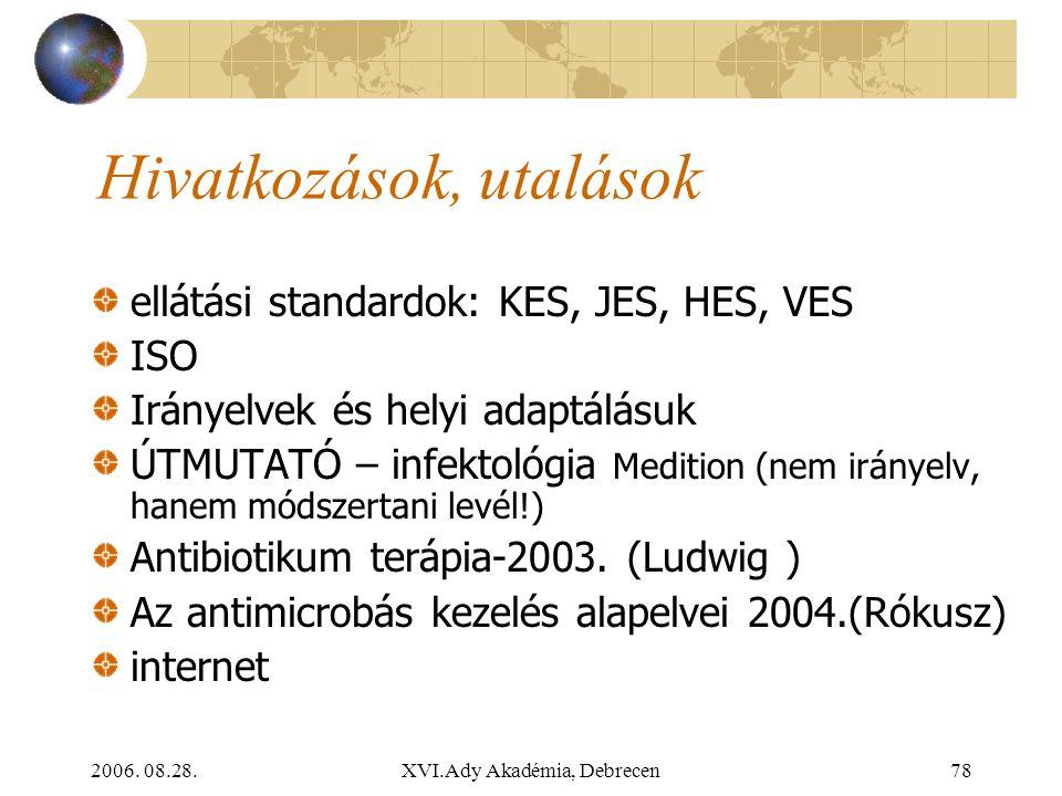 2006. 08.28.XVI.Ady Akadémia, Debrecen78 Hivatkozások, utalások ellátási standardok: KES, JES, HES, VES ISO Irányelvek és helyi adaptálásuk ÚTMUTATÓ –