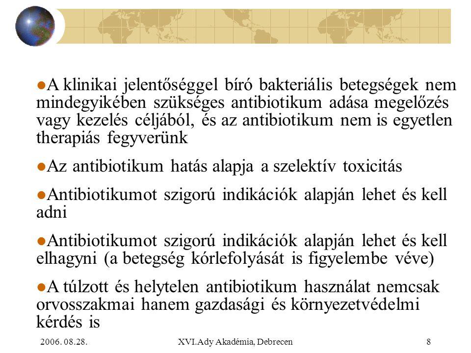 2006. 08.28.XVI.Ady Akadémia, Debrecen8 A klinikai jelentőséggel bíró bakteriális betegségek nem mindegyikében szükséges antibiotikum adása megelőzés