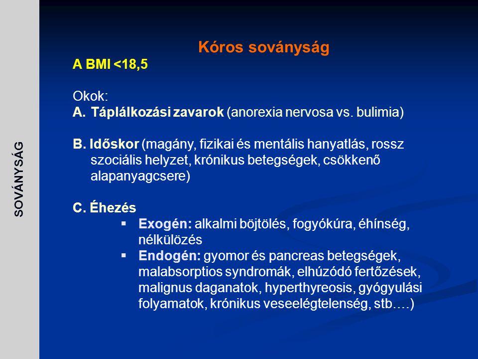Kóros soványság A BMI <18,5 Okok: A.Táplálkozási zavarok (anorexia nervosa vs. bulimia) B. Időskor (magány, fizikai és mentális hanyatlás, rossz szoci
