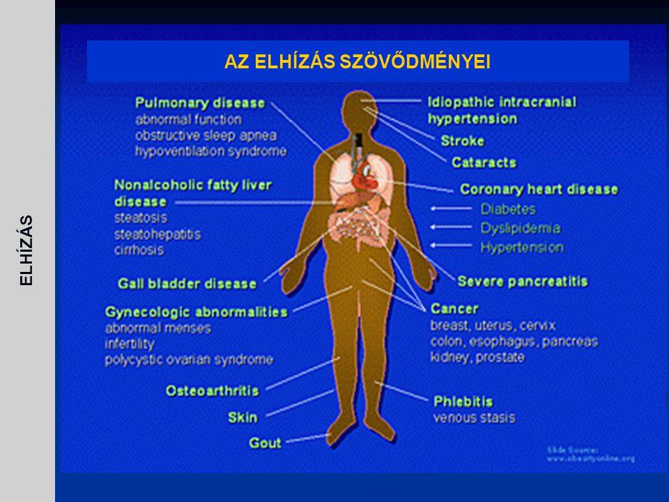 Diagnózis tskg, BMI, csípő- és derékbőség aránya, bioimpedancia, CT, táplálkozási anamnaesis, szekunder okok kizárása Kezelés  Kalóriabevitel csökkentése (diétás tanácsadás) napi 1000- 1200 kcal  Fizikai aktivitás fokozása (rendszeres, egyenletes)  Viselkedésterápia (motiválás, önismereti téningek, csoportth, stb…)  Gyógyszeres: orlistat (nem felszívódó lipázgátló) sibutramin (étvágycsökkentő), rimonabant  Sebészeti módszerek ELHÍZÁS