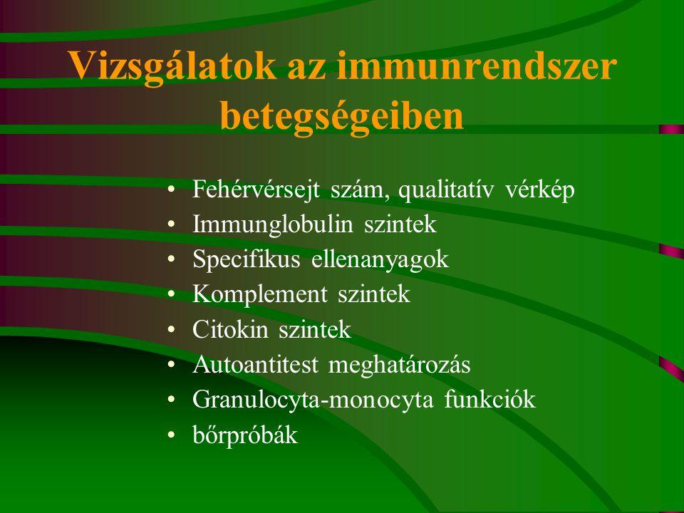 Vizsgálatok az immunrendszer betegségeiben Fehérvérsejt szám, qualitatív vérkép Immunglobulin szintek Specifikus ellenanyagok Komplement szintek Citokin szintek Autoantitest meghatározás Granulocyta-monocyta funkciók bőrpróbák