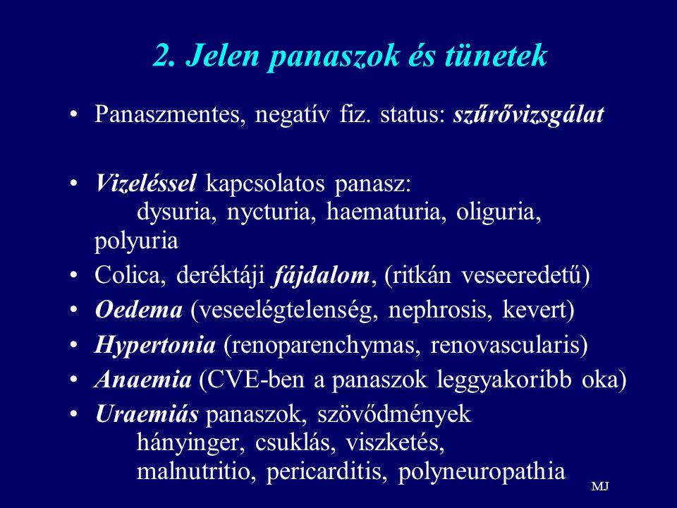 MJ 2. Jelen panaszok és tünetek Panaszmentes, negatív fiz. status: szűrővizsgálat Vizeléssel kapcsolatos panasz: dysuria, nycturia, haematuria, oligur
