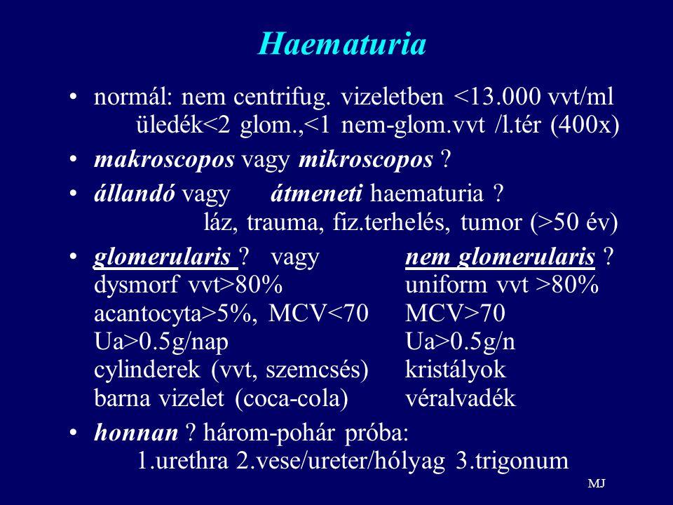 MJ Haematuria normál: nem centrifug. vizeletben <13.000 vvt/ml üledék<2 glom.,<1 nem-glom.vvt /l.tér (400x) makroscopos vagy mikroscopos ? állandó vag