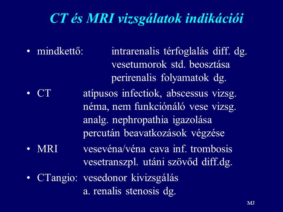 MJ CT és MRI vizsgálatok indikációi mindkettő: intrarenalis térfoglalás diff. dg. vesetumorok std. beosztása perirenalis folyamatok dg. CTatípusos inf